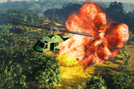 Scene of the helicopter and blast Stock Photo - 6746319