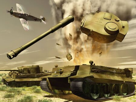 scene of the blast of the tank