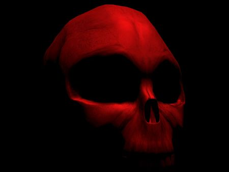 red skull on black background