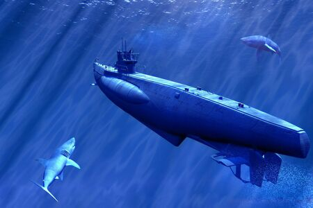 scene submarine and shark
