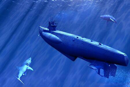 submarine: scene submarine and shark