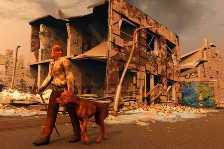 scene of the person and dogs after apocalypse photo