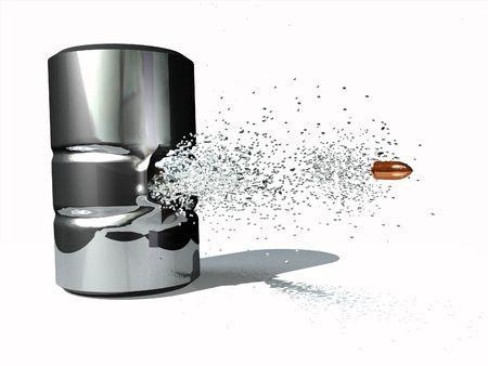 impacts: escena rodada en las latas ejecutado en 3D  Foto de archivo