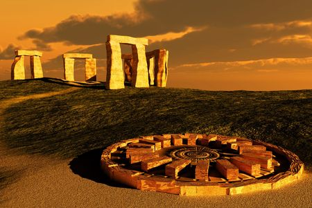 Abstract scene of the Stonehenge
