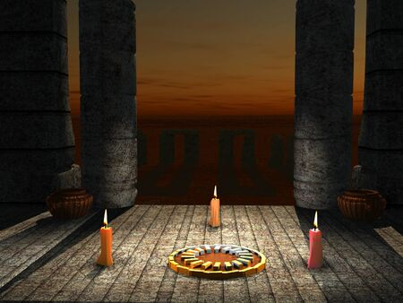 scene by candle in temple Stock Photo - 9040543
