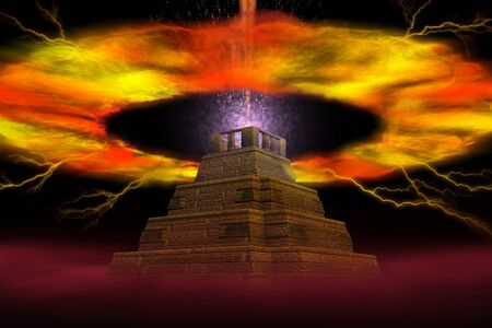 The abstract image of explosion of a pyramid
