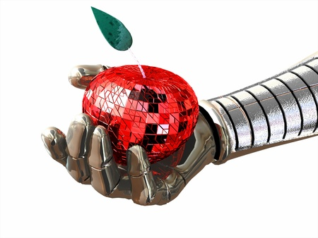 apple computers: The image of a hand of the robot