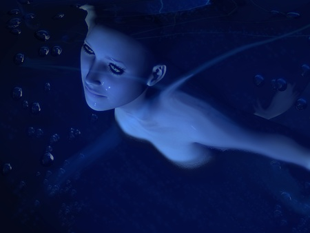 The image of the girl under water
