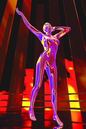 cyber woman: The abstract image Dance robot