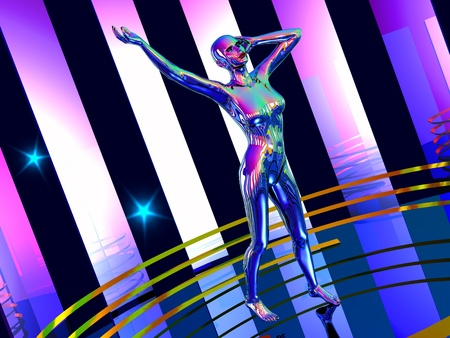 robot girl: The abstract image Dance robot