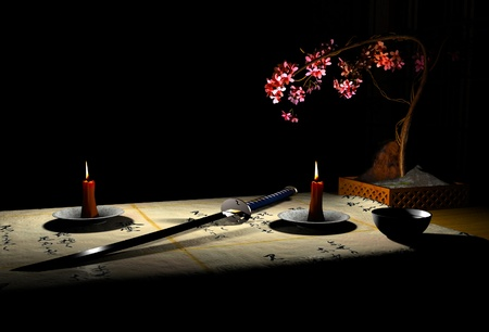 The image katana and candles photo