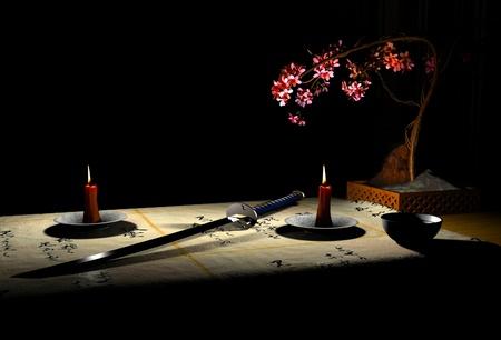 japanese ninja: The image katana and candles