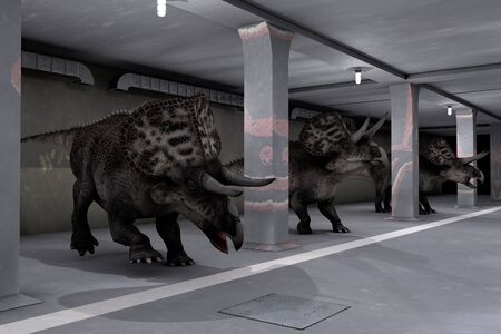 The comic image of a parking of dinosaurs photo