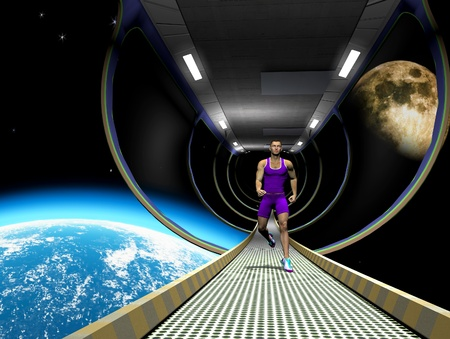 scifi: The image of the running person in space  Stock Photo