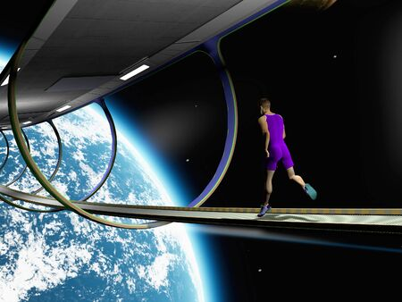 The image of the running person in space  Stock fotó