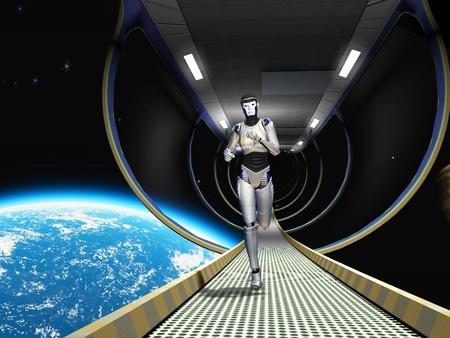 L'image d'un cyborg dans l'espace