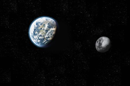 executed: scene earth and moon Executed in 3D