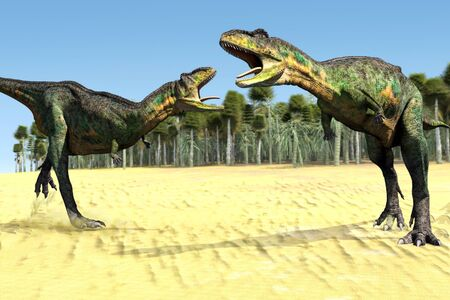prehistoric animals: scene two dinosaurs Executed in 3D Stock Photo
