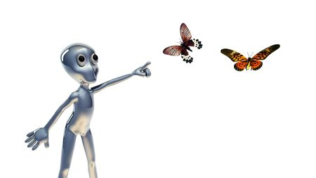 Scene 3d small people  and butterfly photo
