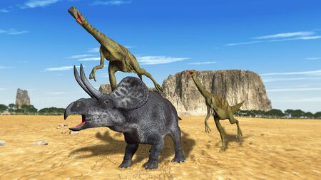 executed: scene two dinosaurs Executed in 3D Stock Photo