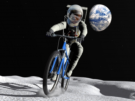The comic image of the astronaut on the moon photo