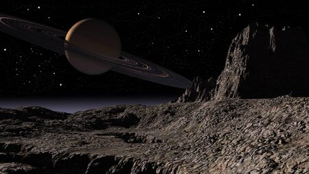 explotion: Space scene of a planet Saturn