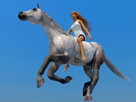 parapente: Modelo 3D de la mujer en un caballo