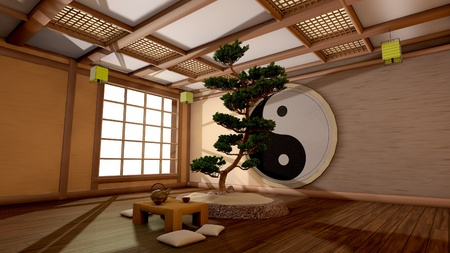 The tree image in a Japanese interior Stock Photo