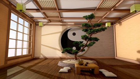 traditional living room: The tree image in a Japanese interior Stock Photo