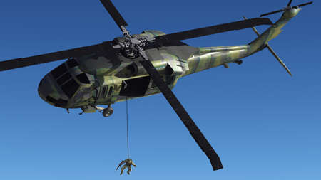 flight mode: The image of the soldier near to helicopter Stock Photo