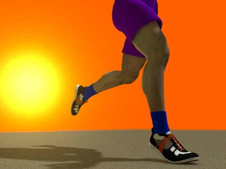 executed: The image of the running person is executed in 3D