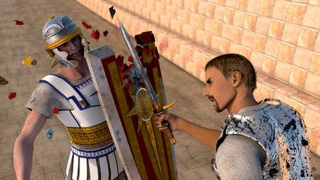 medieval warrior:  knights swords fighting in 3D