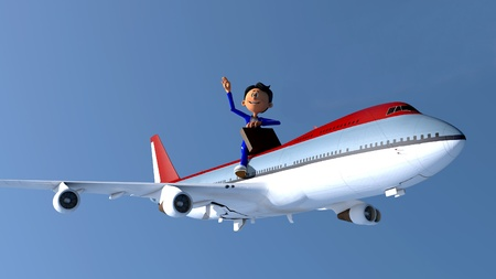 flying man: The image of the little man near the plane Stock Photo