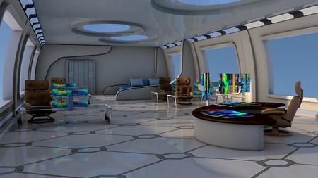 La imagen de futurista laboratorio