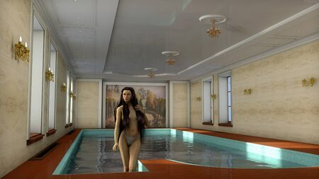 executed: The image of the girl in pool    executed in 3D