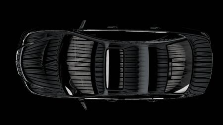 executed: The contrast image of the car executed in 3D