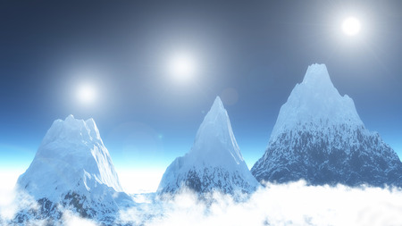 The image of three mountains and three sun photo