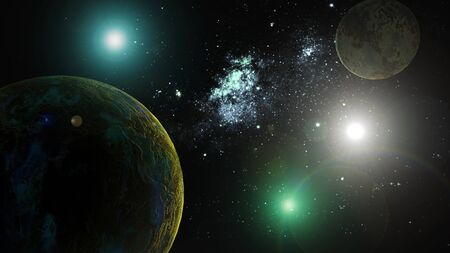 three object: The image of planets in deep space Stock Photo