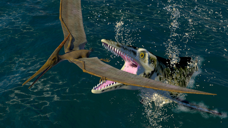 pterodactyl: The image pteranodon and a predatory sea dinosaur