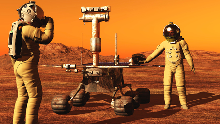 rover: The image of the astronaut and mars rover 3D illustration