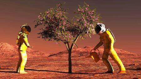 dry suit: The plant image on Mars 3D illustration