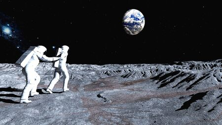 Follow me on the Moon Stock Photo
