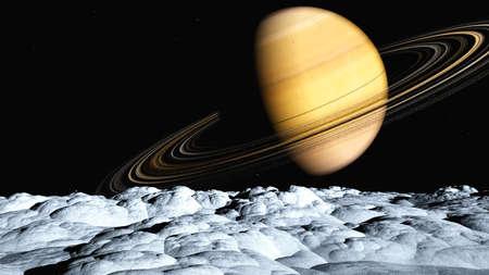 surfaces: The image of the Saturn landscape 3D illustration