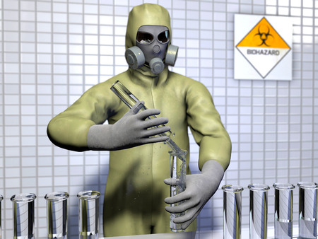 bio safety: The image of biological experiment 3D illustration