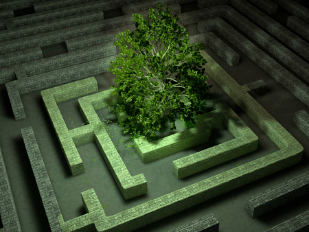 arbol de problemas: The tree image in a labyrinth at night 3D illustration Foto de archivo