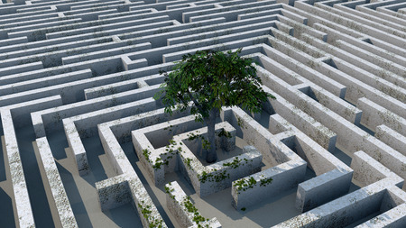 hopelessness: The tree image in a labyrinth 3D illustration Stock Photo
