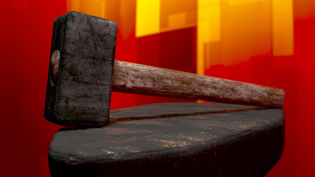 The image of a forge hammer 3D illustration Stock Photo