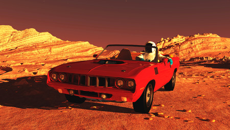 The car image on Mars 3D illustration