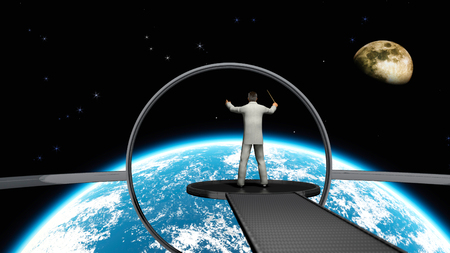 The image of the conductor in space 3D illustration