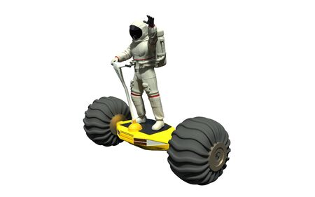 An astronaut on a hoverboard